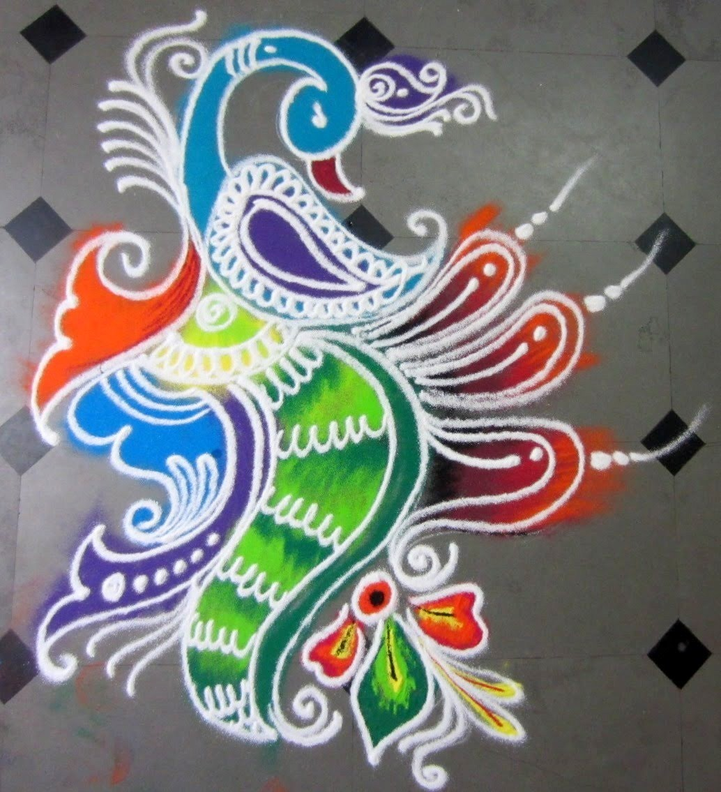 Peacock Rangoli for Diwali Festival