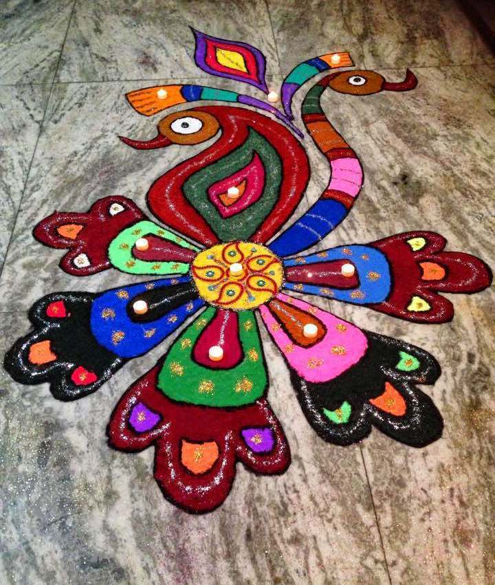 Peacock Rangoli for Home
