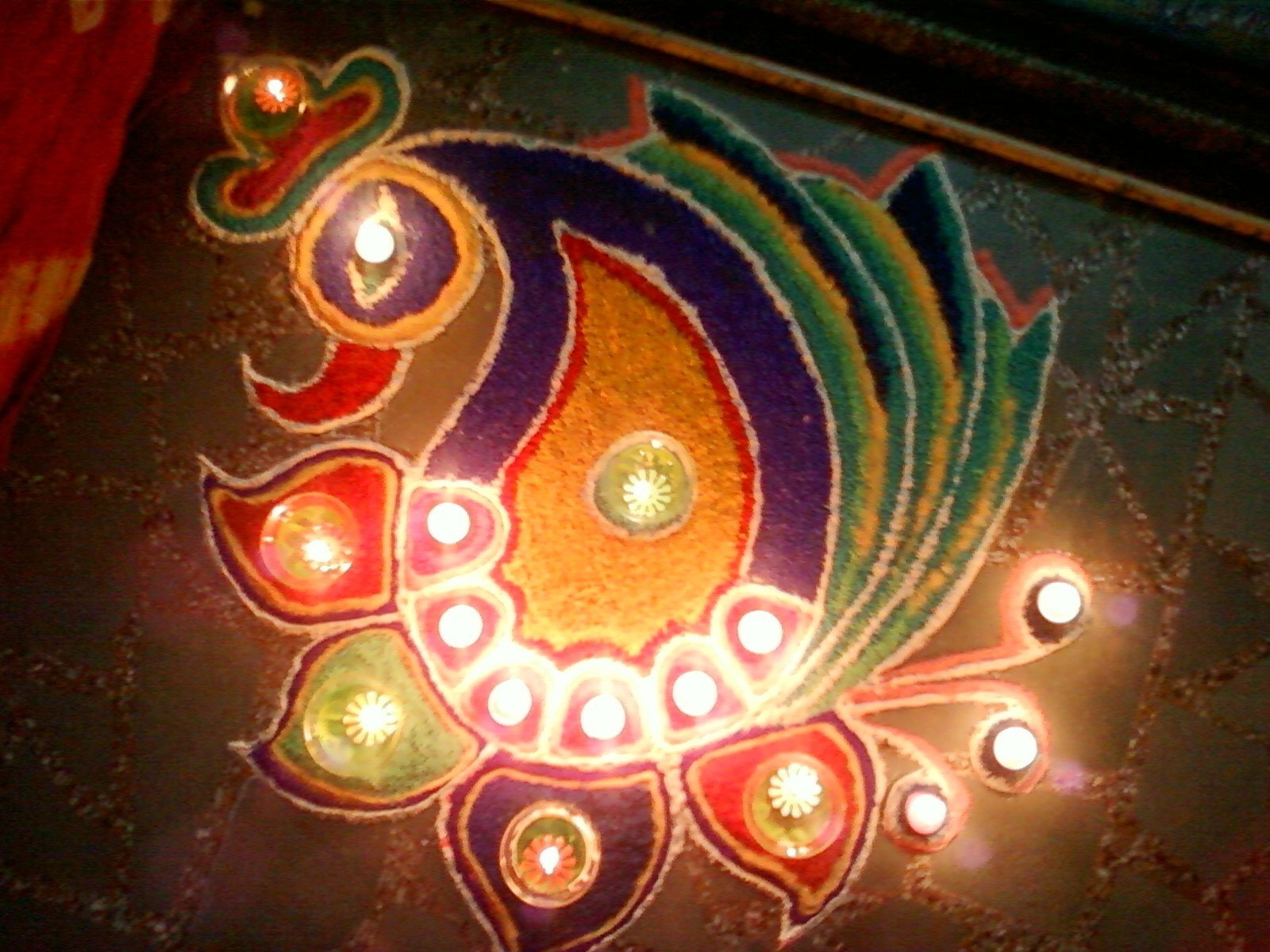 Peacock Rangoli for Diwali 2016