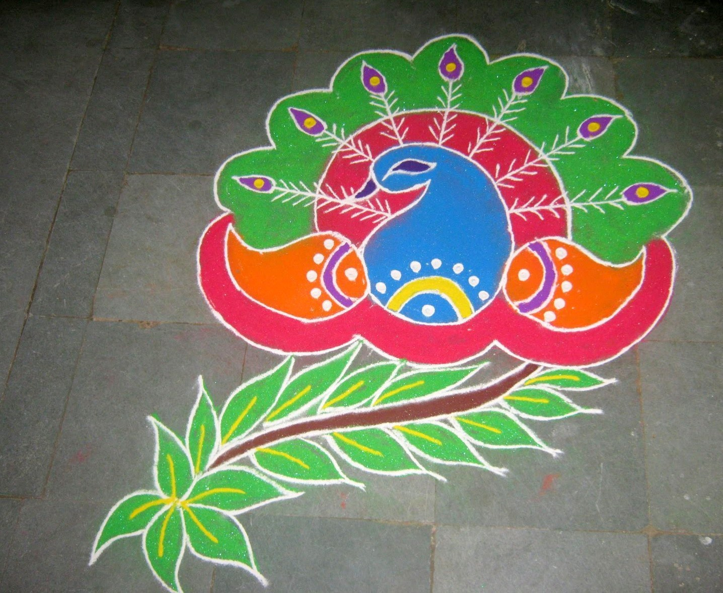 Peacock Rangoli Patterns for Deepavali