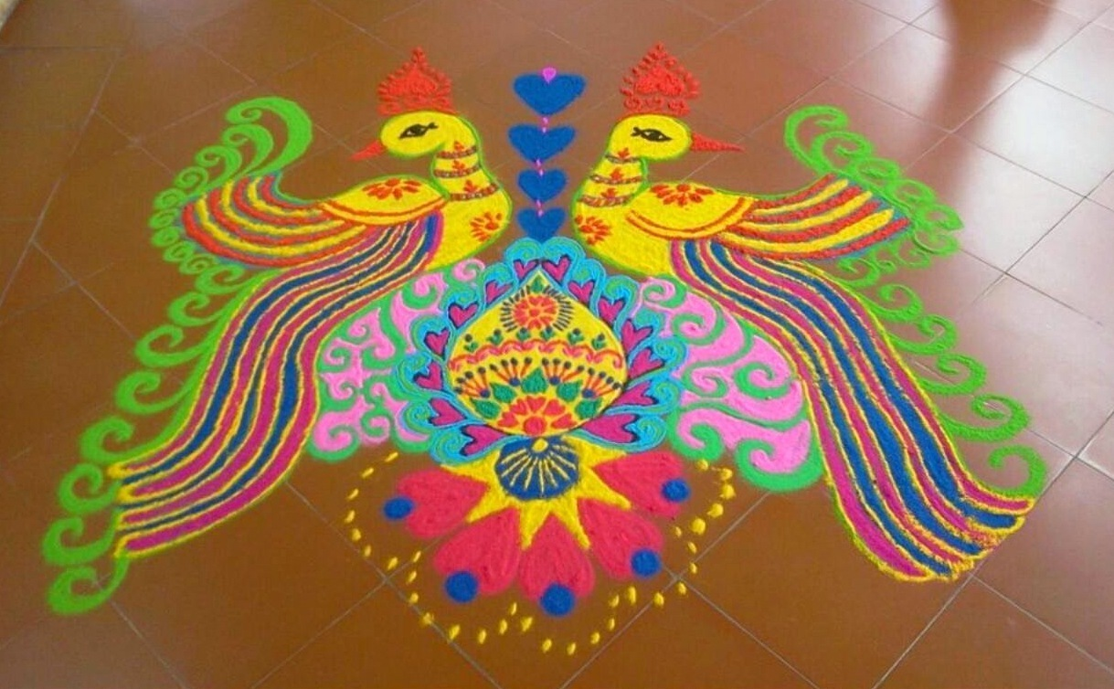 Peacock Rangoli Designs for Competition