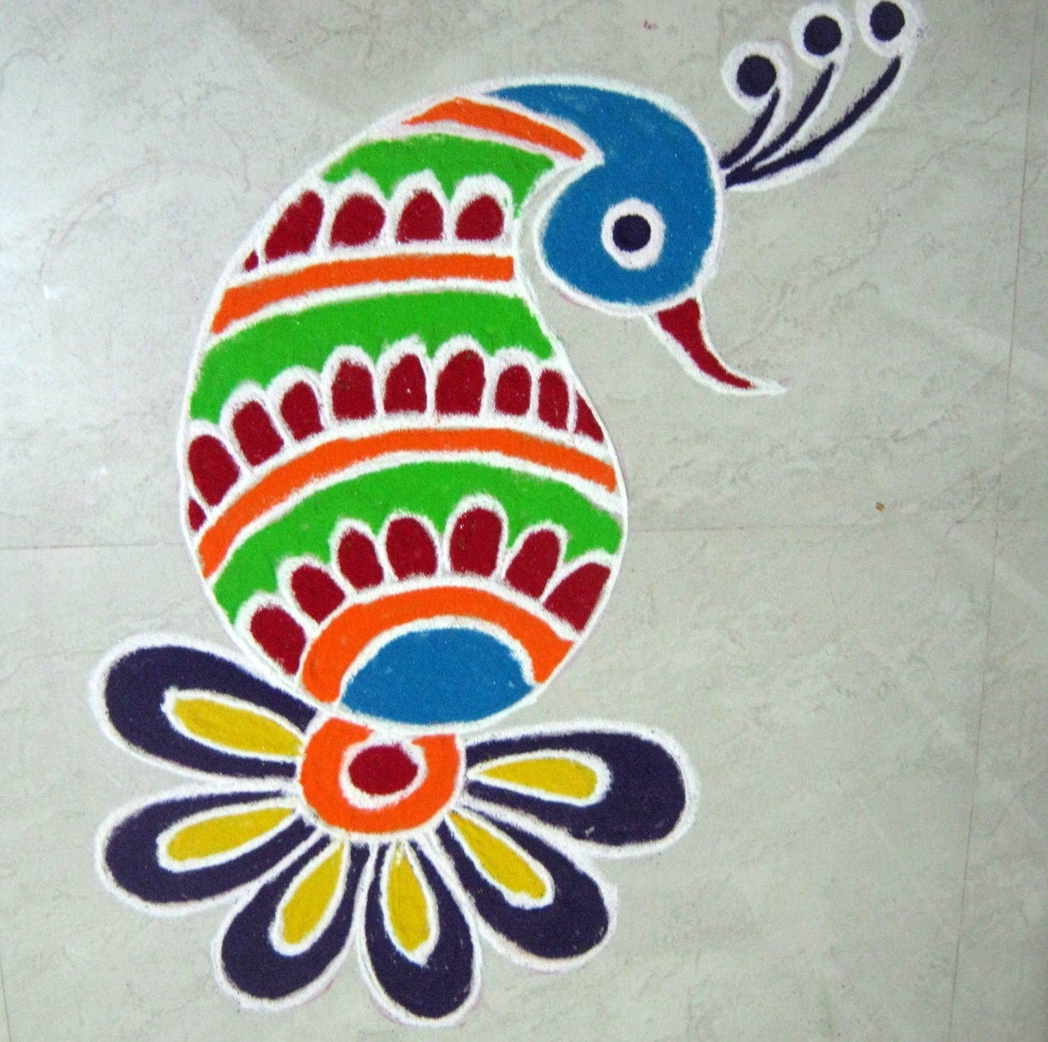 beautiful peacock rangoli designs for competition