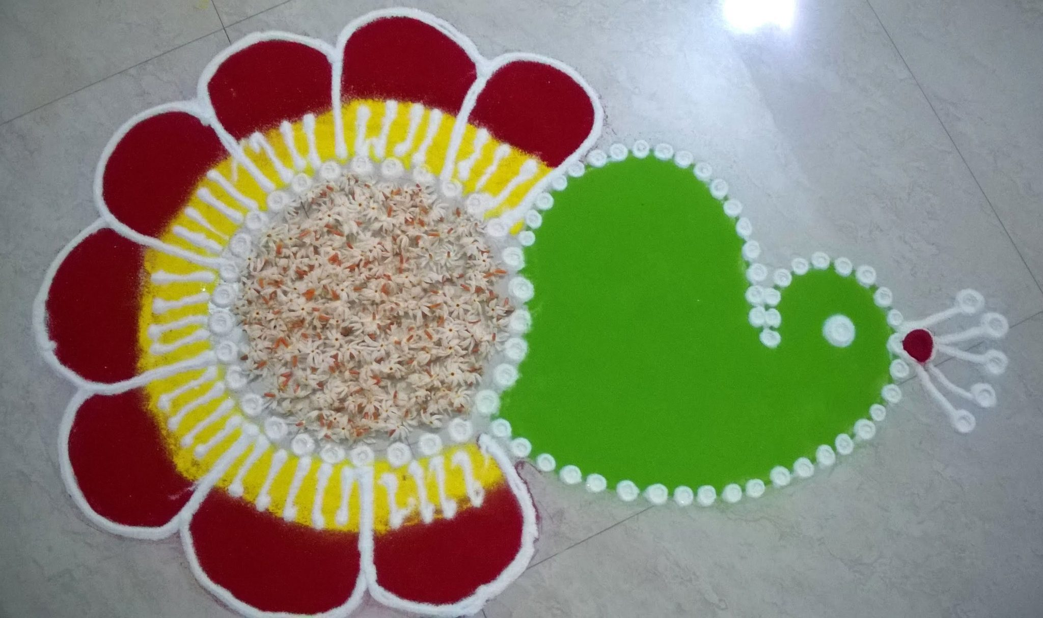 Simple Peacock Rangoli for Kids