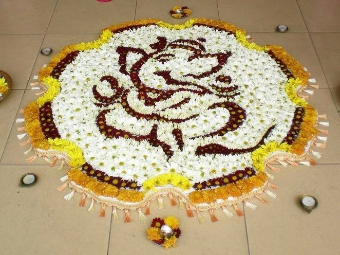 Rangoli Of Ganesh with Flowers