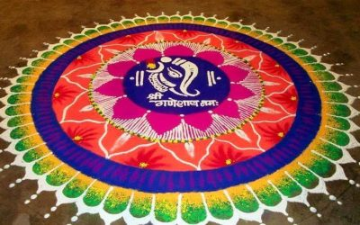 Rangoli Of Ganesh with Colors