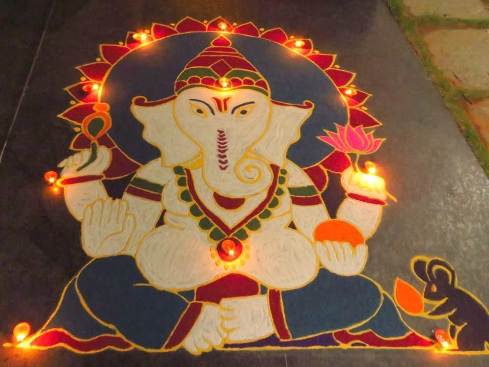 Ganesh Rangoli For Diwali Celebration