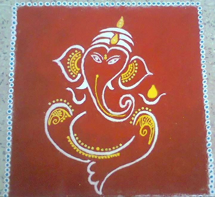 Easy Rangoli Designs Ganesh