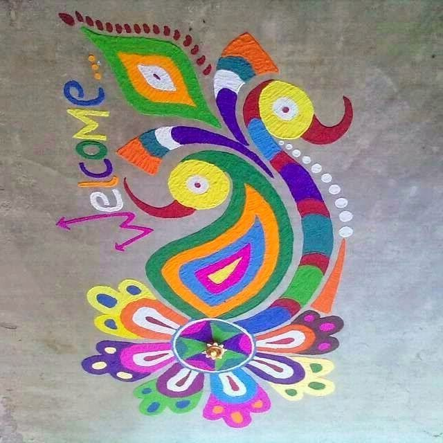 Peacock Rangoli Designs for Welcome