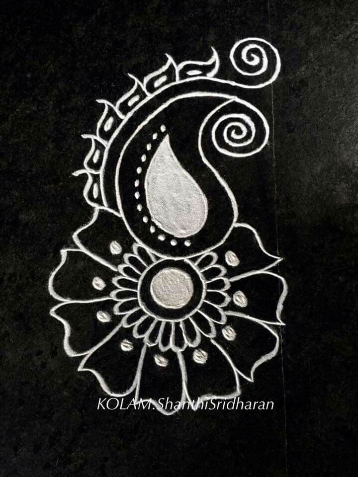 White Powder Rangoli Design of Flower