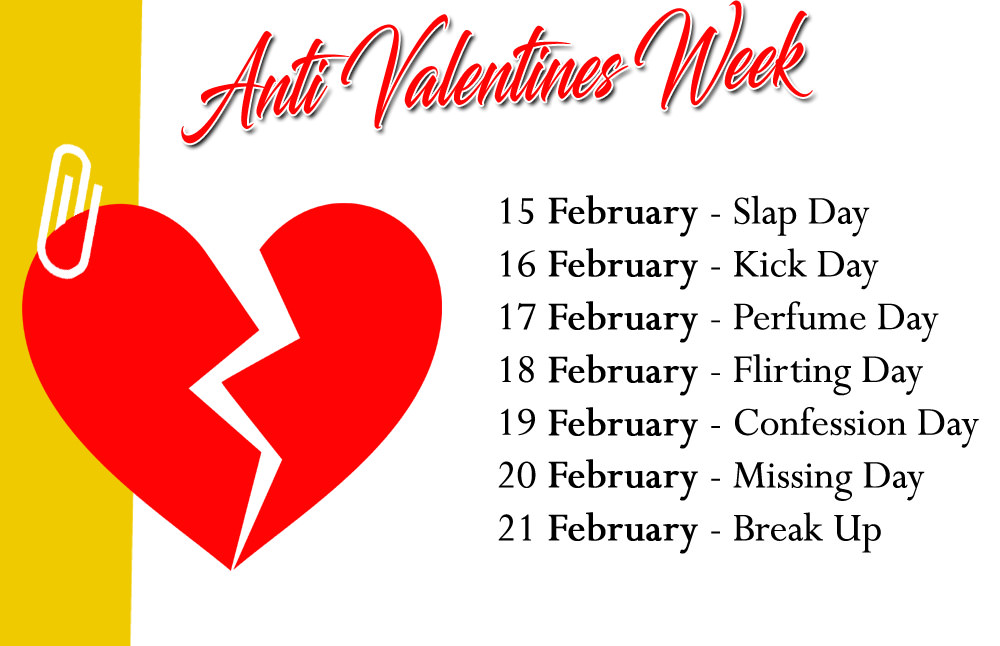 Anti-Valentine Week List Date Sheet