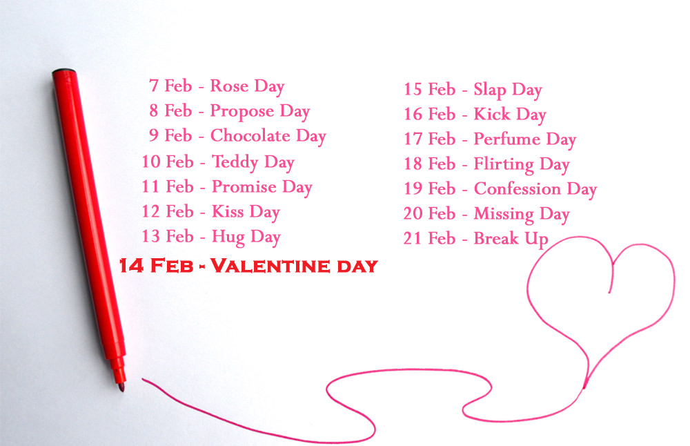 Before After Valentine Week List