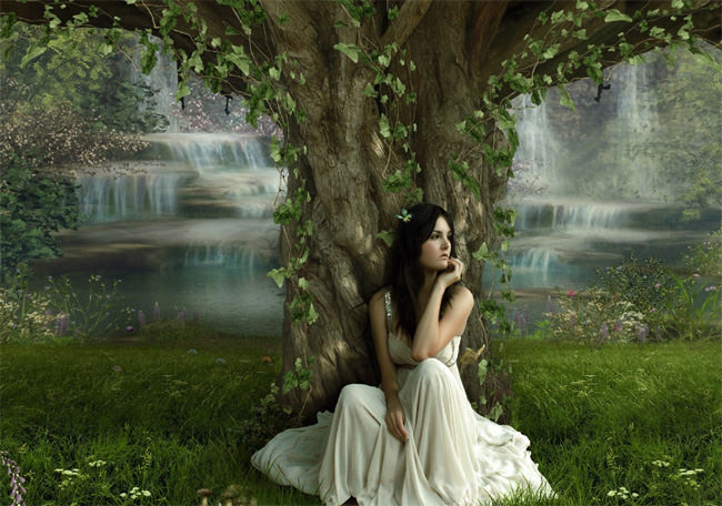 pretty solitude girl sit under tree