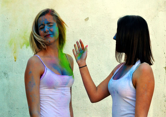 hot girls playing holi