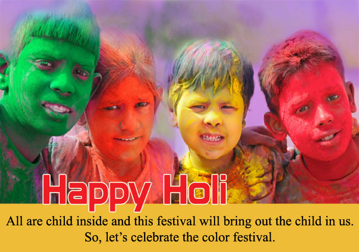 kids with colour on holi quotes