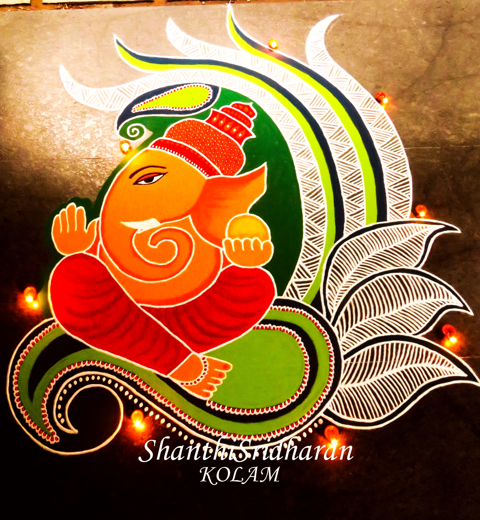 Ganesh Chaturthi Rangoli for Competition