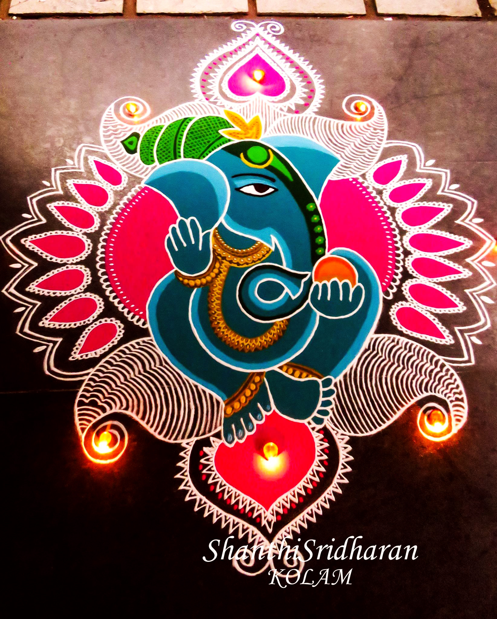 Ganesh Rangoli Designs with Diya