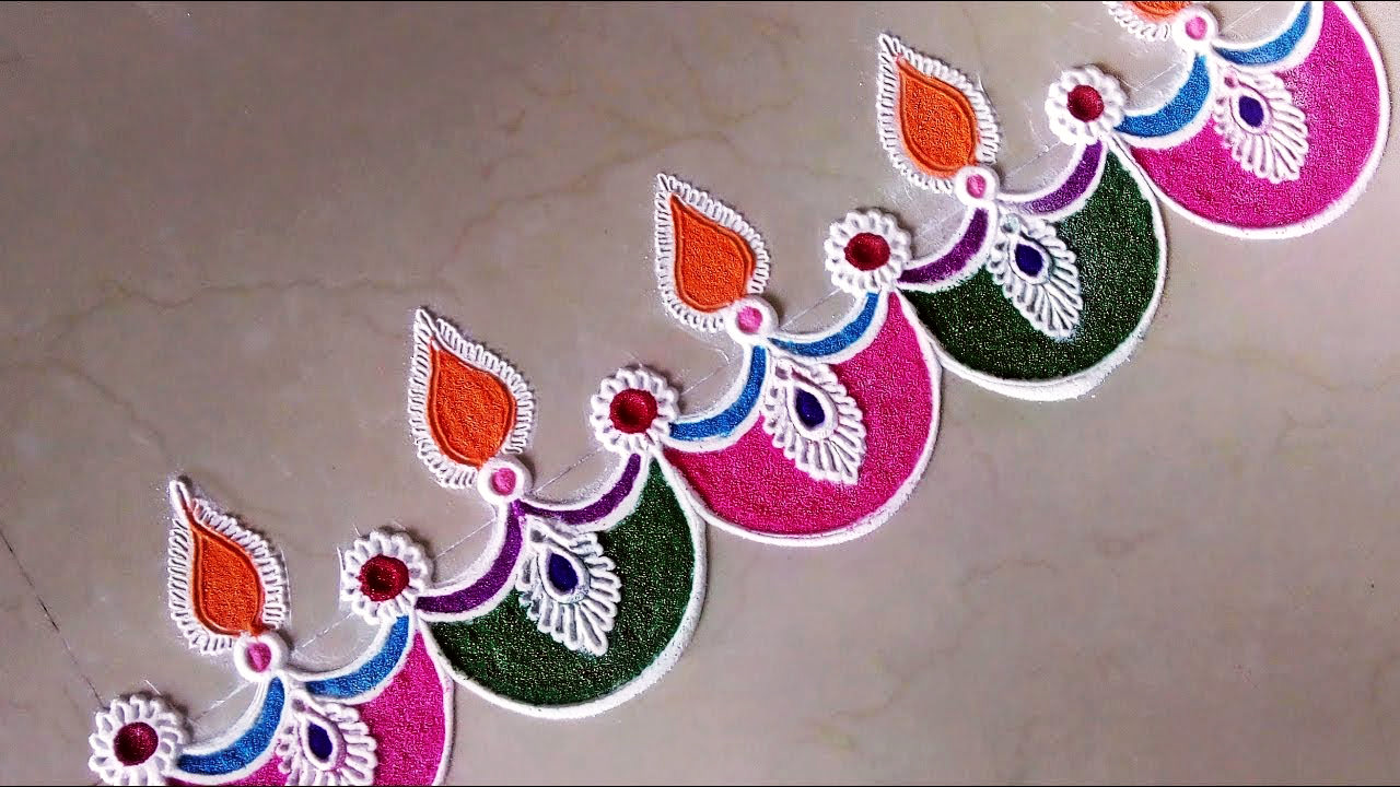 Border Rangoli Designs for Diwali with Diya
