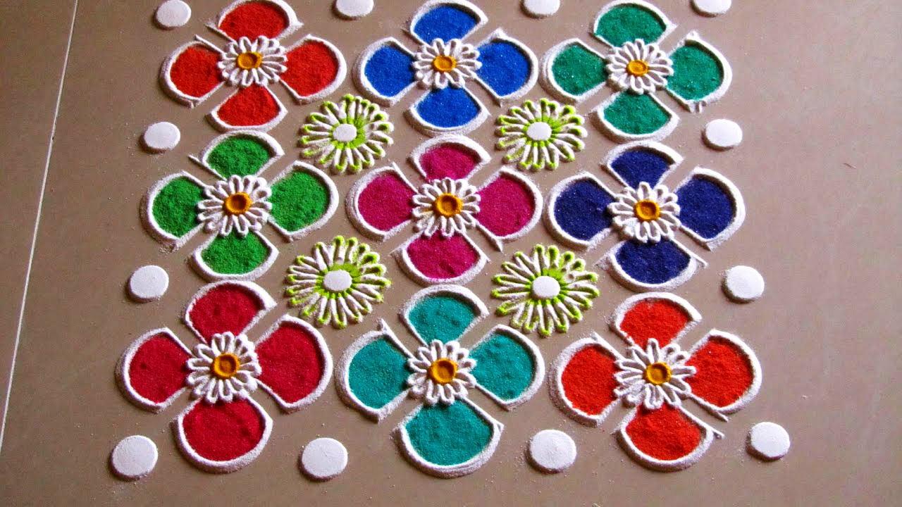 Dot Rangoli Designs for Diwali with Colors
