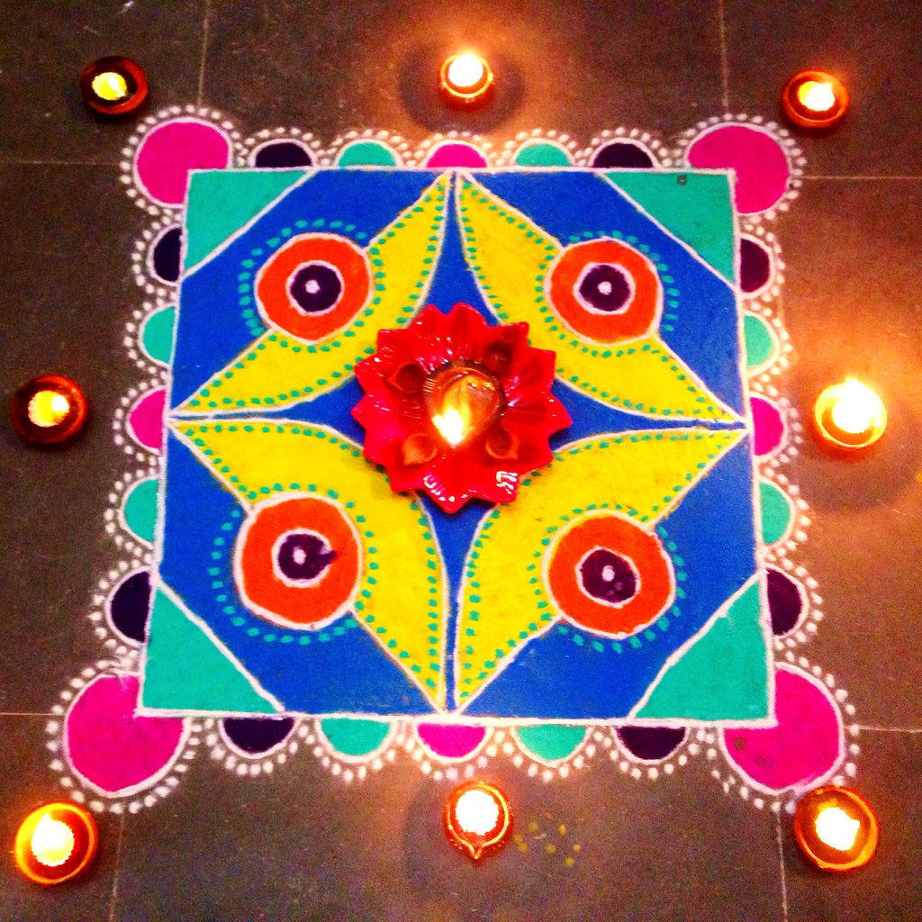 Dotted Rangoli Design with Diya