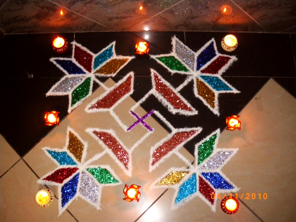 Dotted Rangoli Image with Diyas
