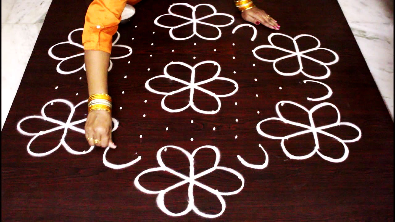 Flower Rangoli Designs with Dot