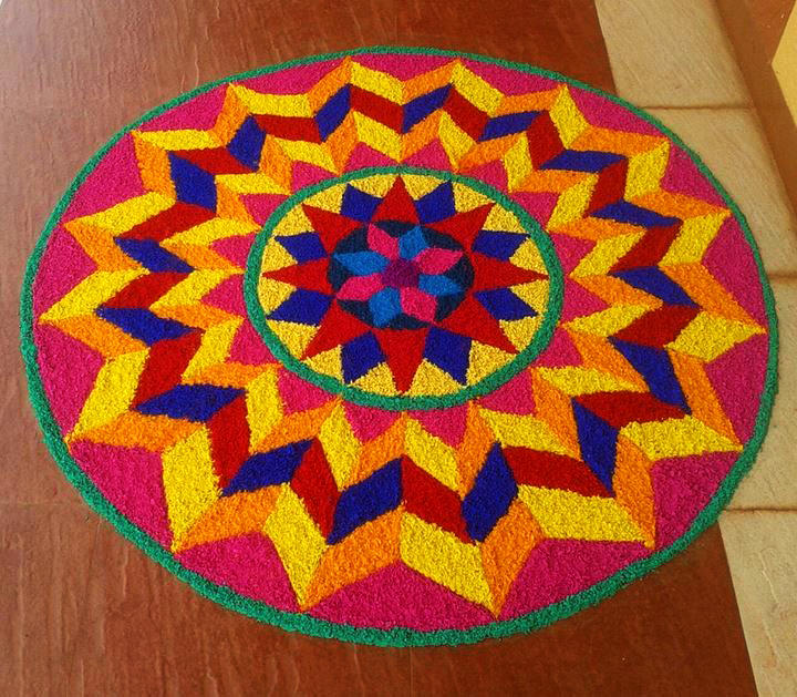 Mathematical Rangoli Design with Dots Pattern