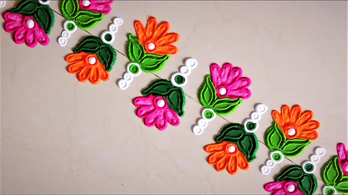 Rangoli Border Designs with Flowers