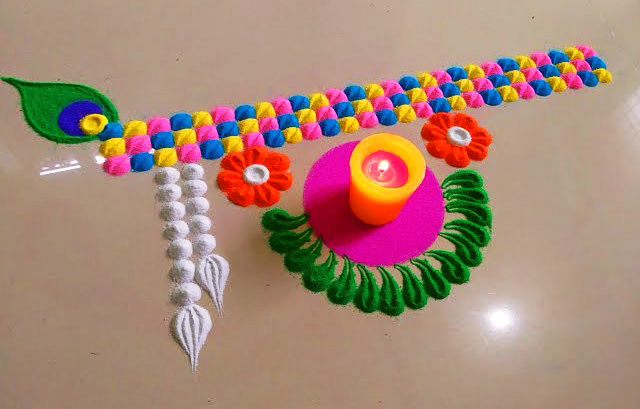 Simple Dot Rangoli Designs for Home