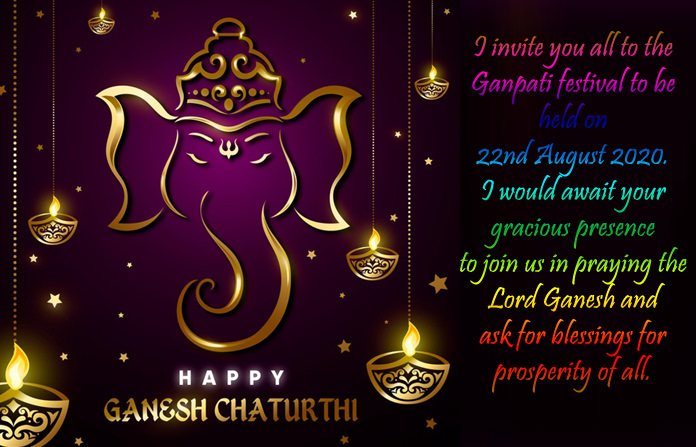 Colorful Ganpati Invitation Card with Message